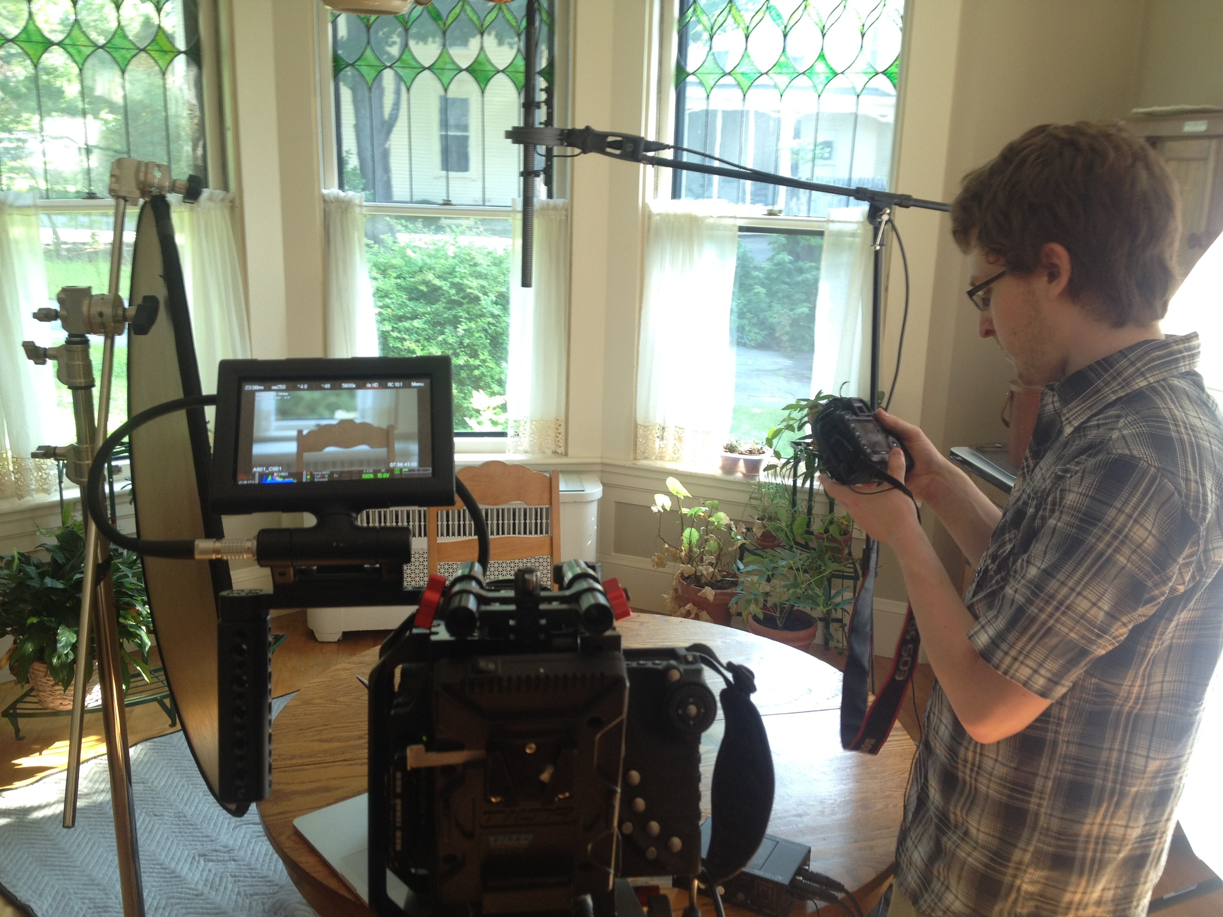 Setup for first location of the day, awaiting the interviewee.