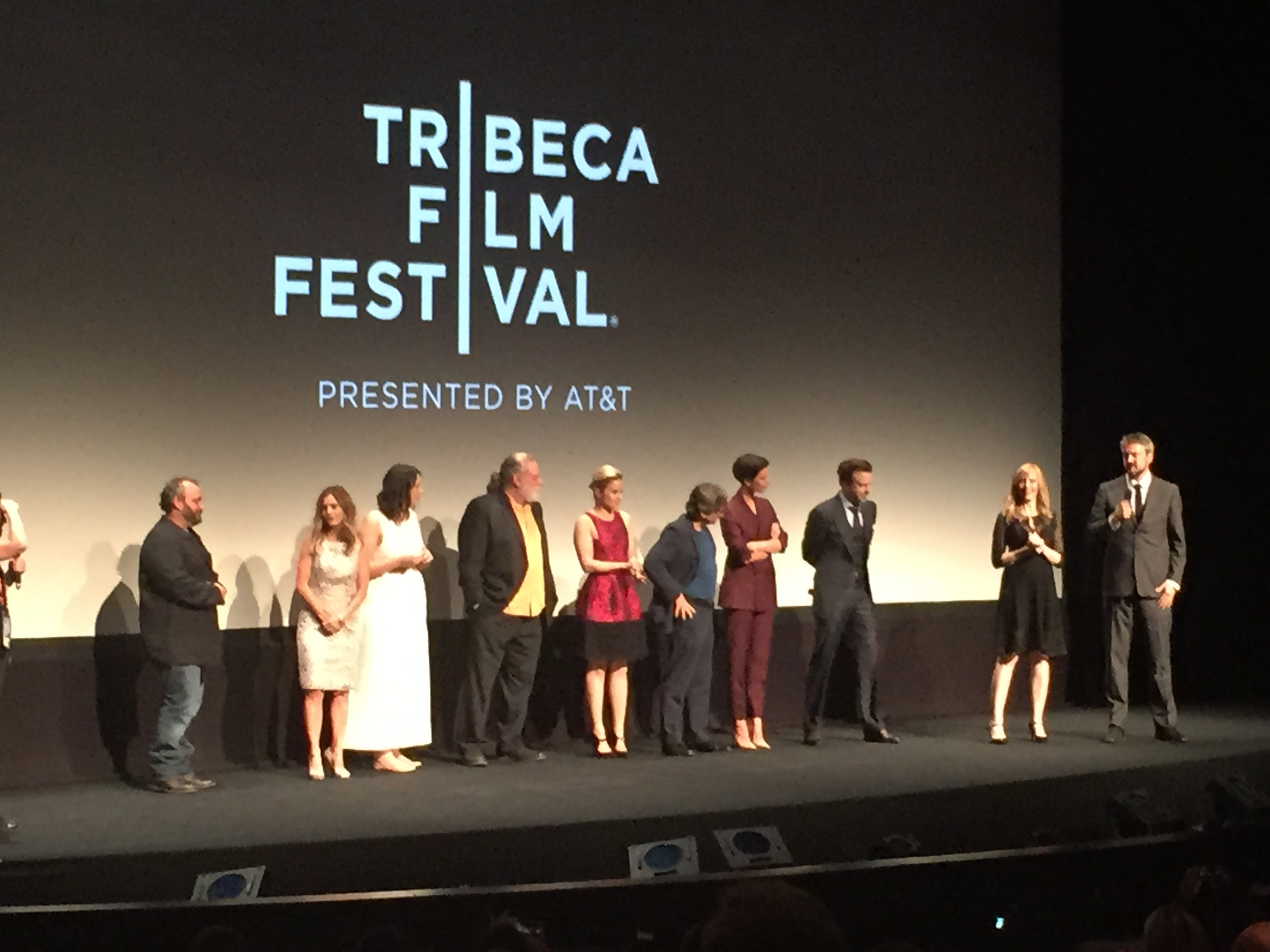"""Tumbledown"" Q&A after the premiere.  From far right: Sean Mewshaw (director), Desi Van Til (screenwriter), Jason Sudeikis and Rebecca Hall."