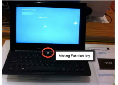 Sony's flagship Vaio Duo 11 hybrid laptop tablet. Ships with an error message and a key missing from the keyboard.