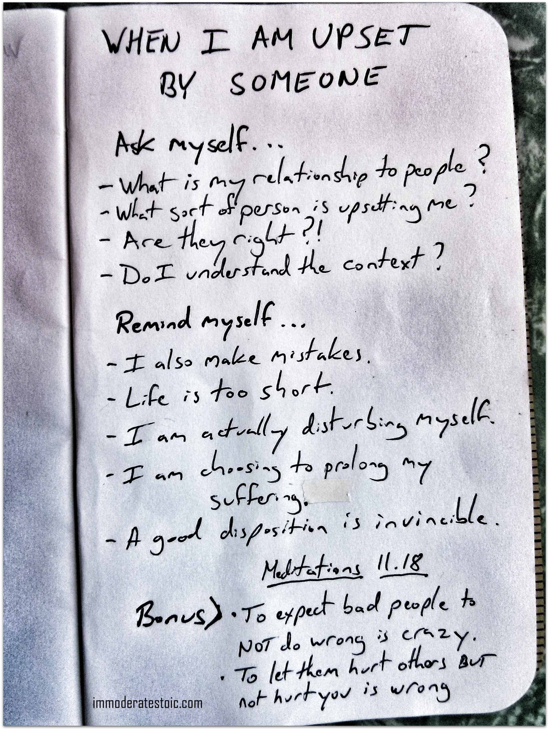 A page from Matt Van Natta's notebook. Points derived from Marcus Aurelius' Meditations, 11.18.