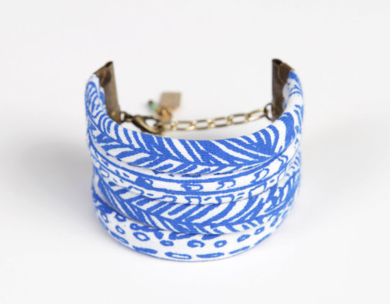 Bracelet by  Thief and Bandit based out of Halifax, Nova Scotia.The fabric is handprinted with non toxic water based ink on organic bamboo jersey.
