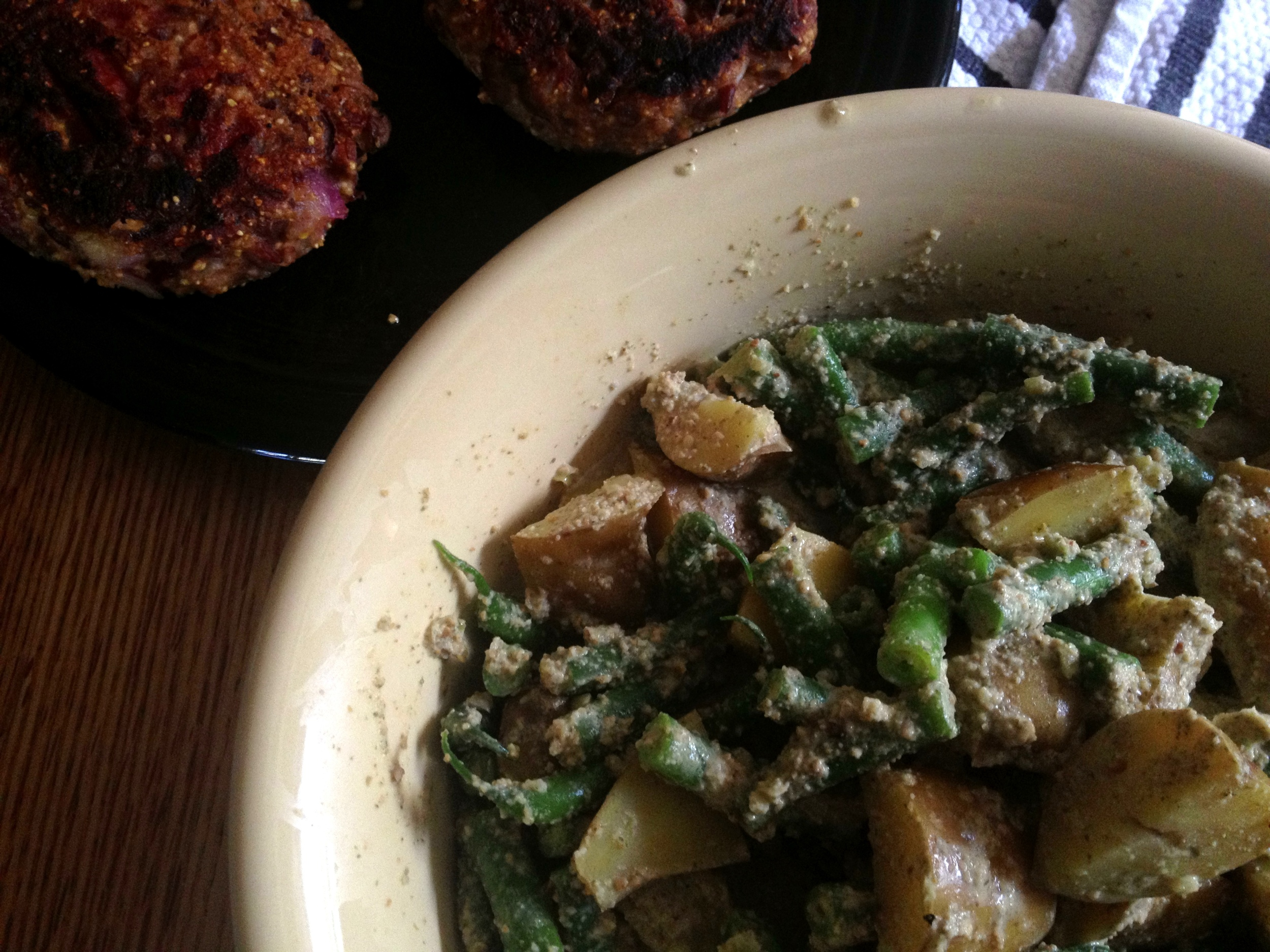 Mayan potato and fresh green bean salad; pinto and rice burgers