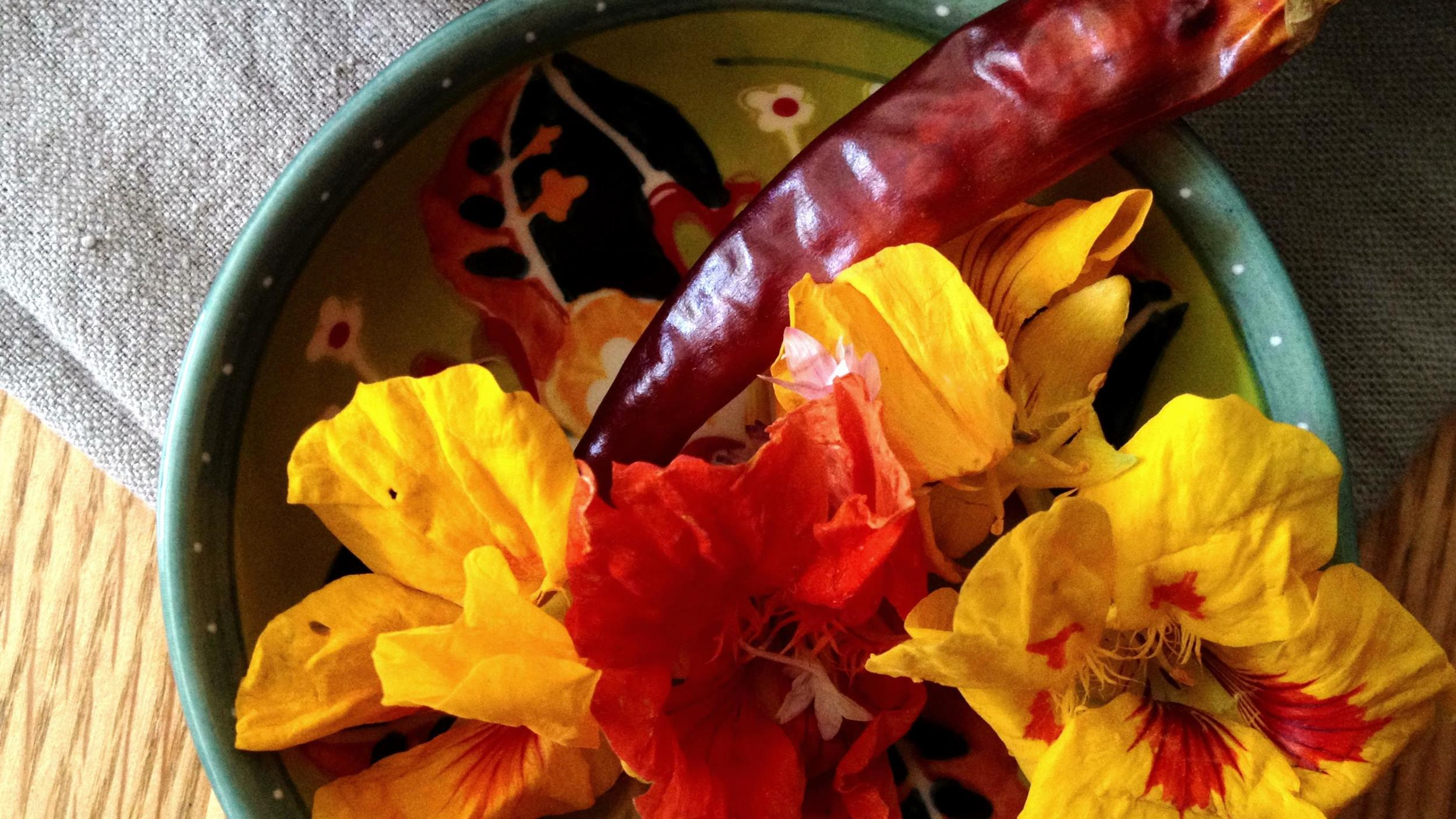 dried chile, nasturtiums