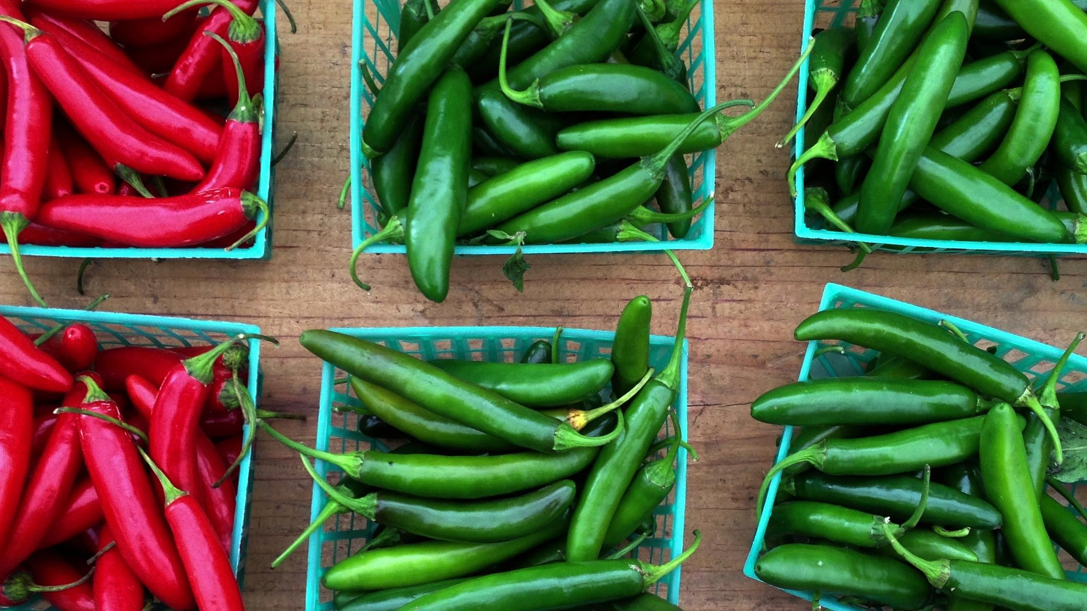 what goes into my farmers market bag for Old New World: all the chile peppers
