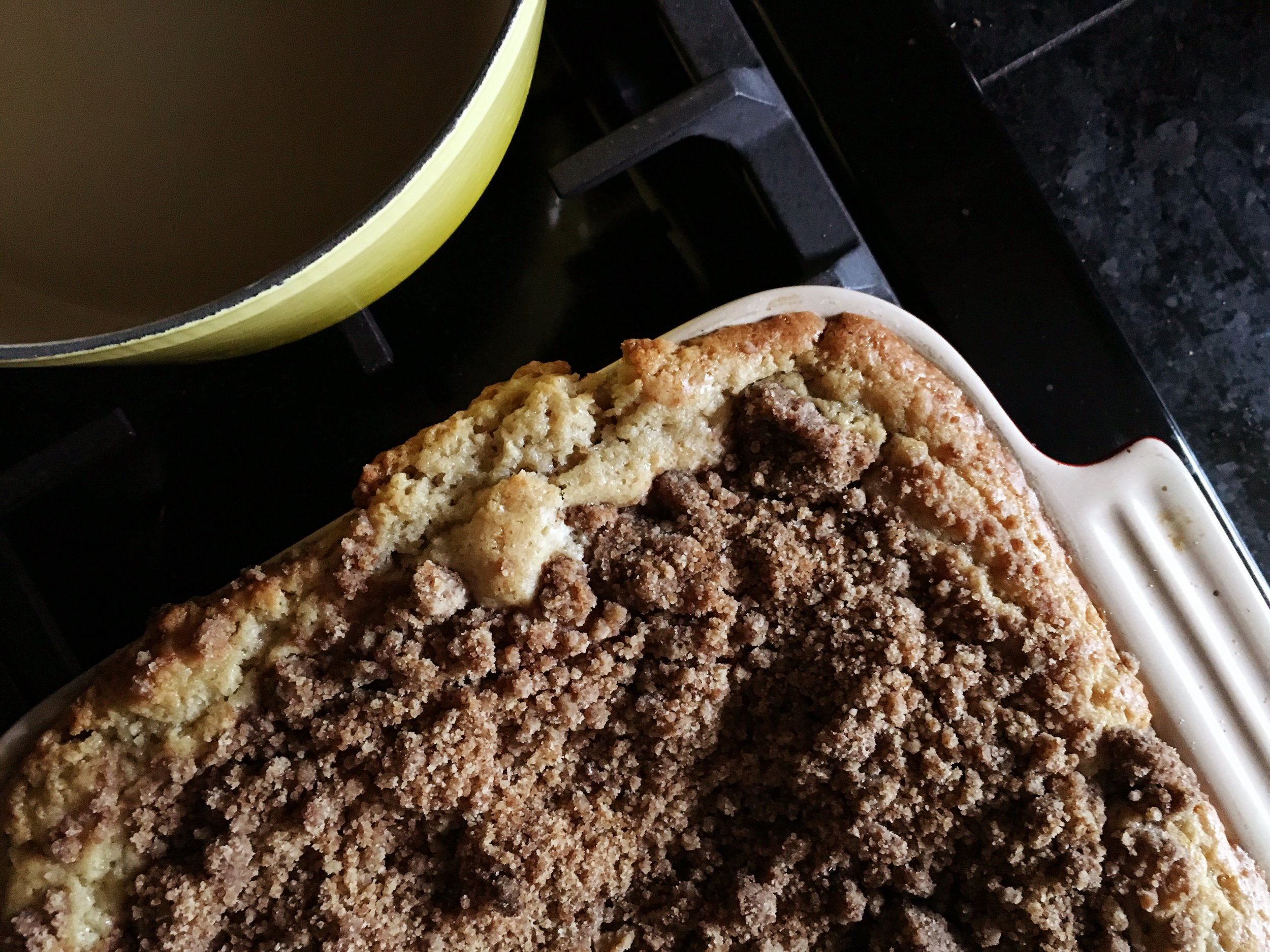 Coffee cake, crumb topped