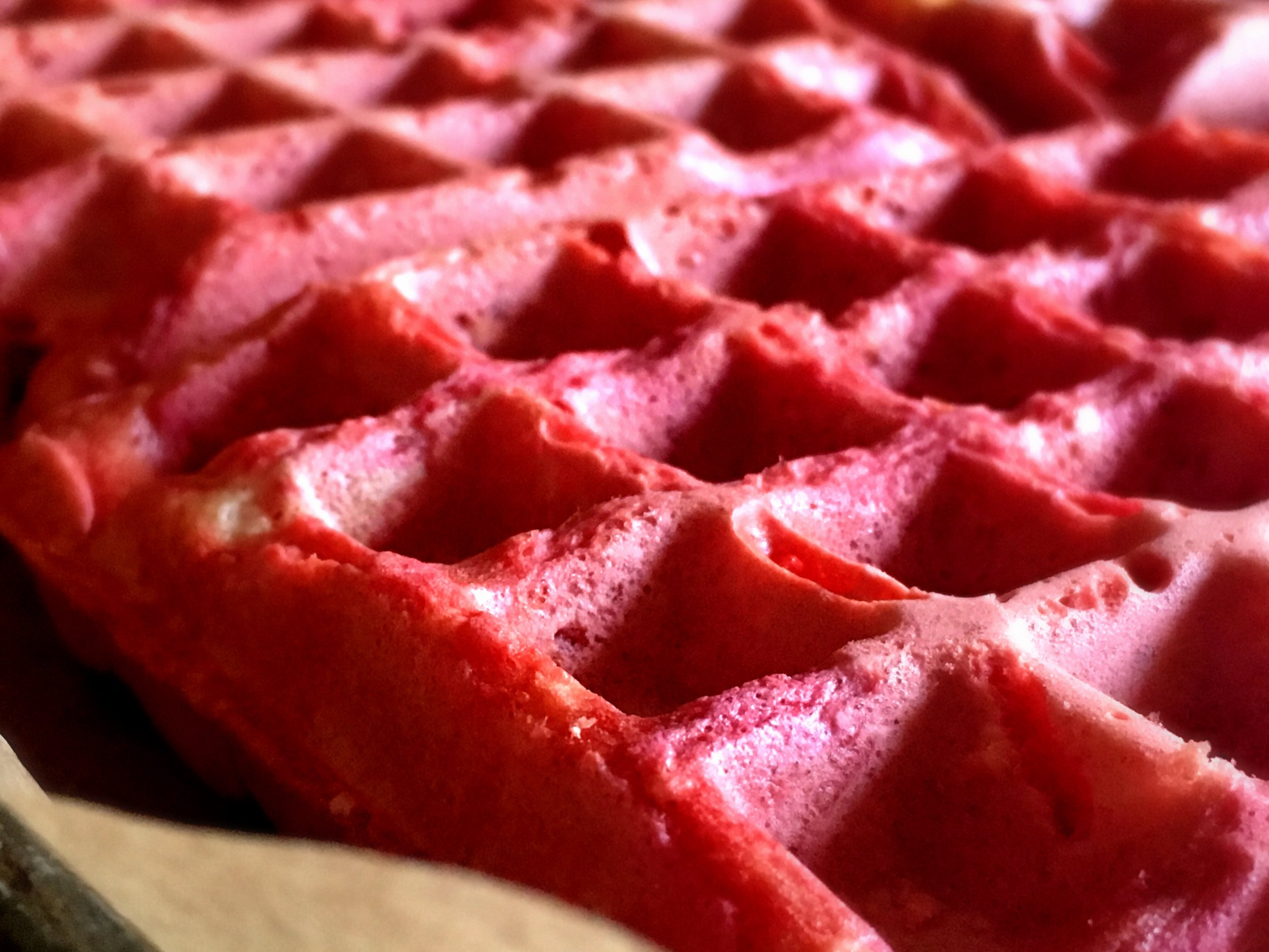 Close up of calico citrus beet ginger waffles