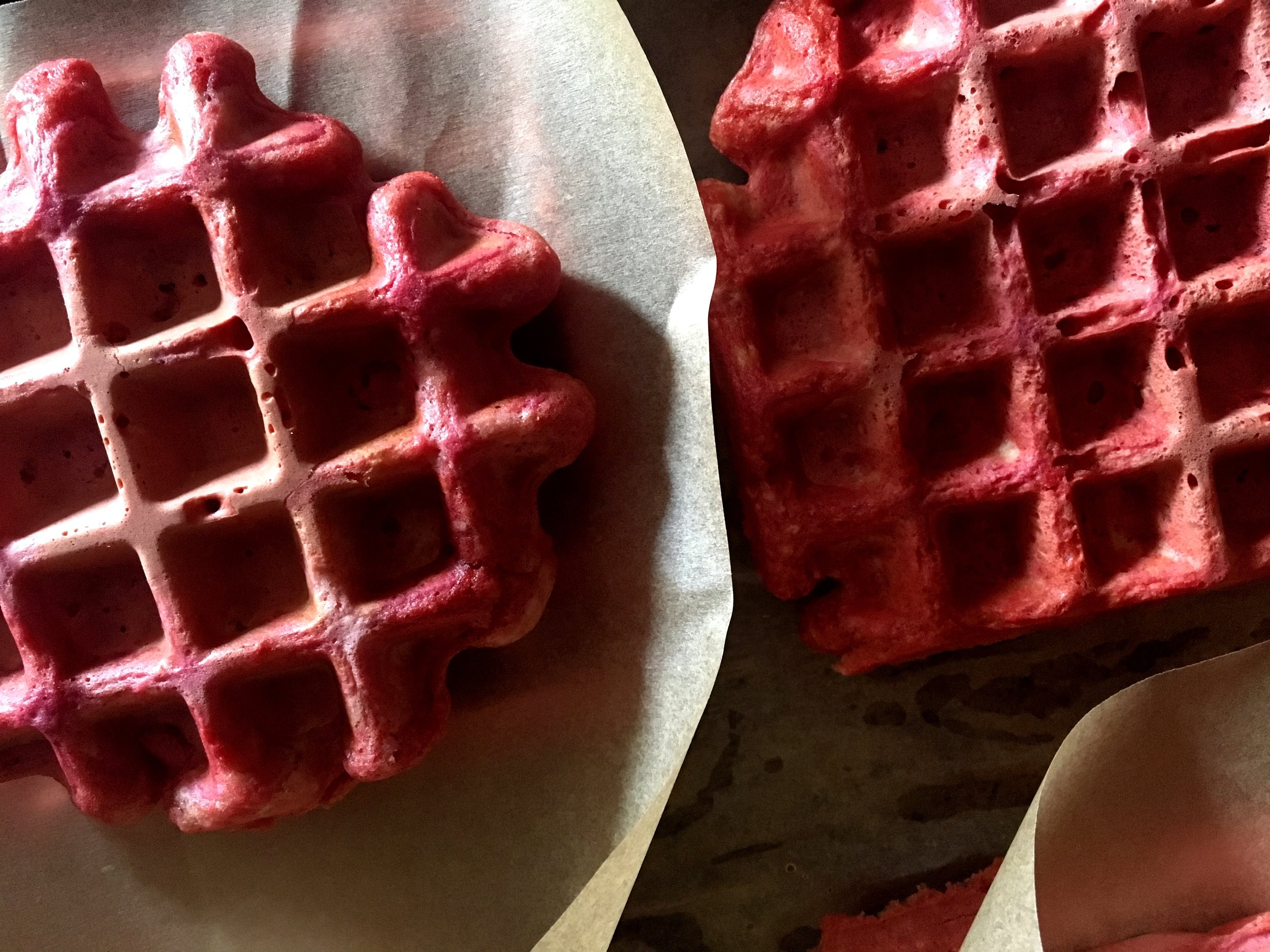 Calico citrus ginger beet waffles ready for freezing
