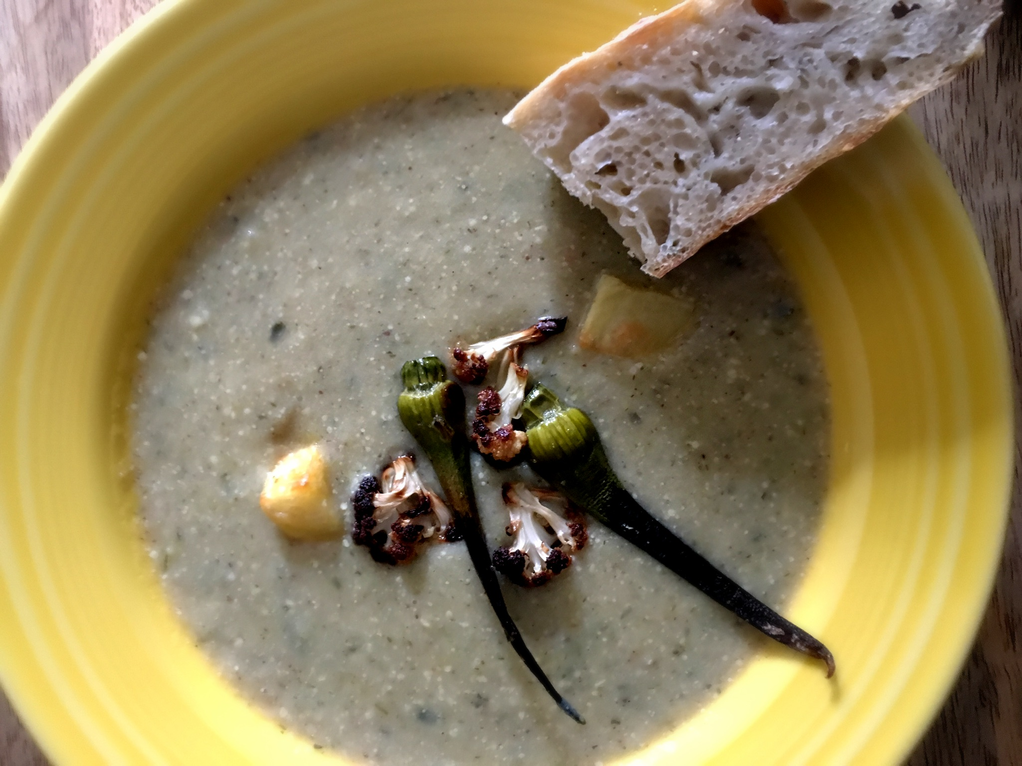roasted garlic scape, potato, cauliflower soup with homemade rosemary thyme bread
