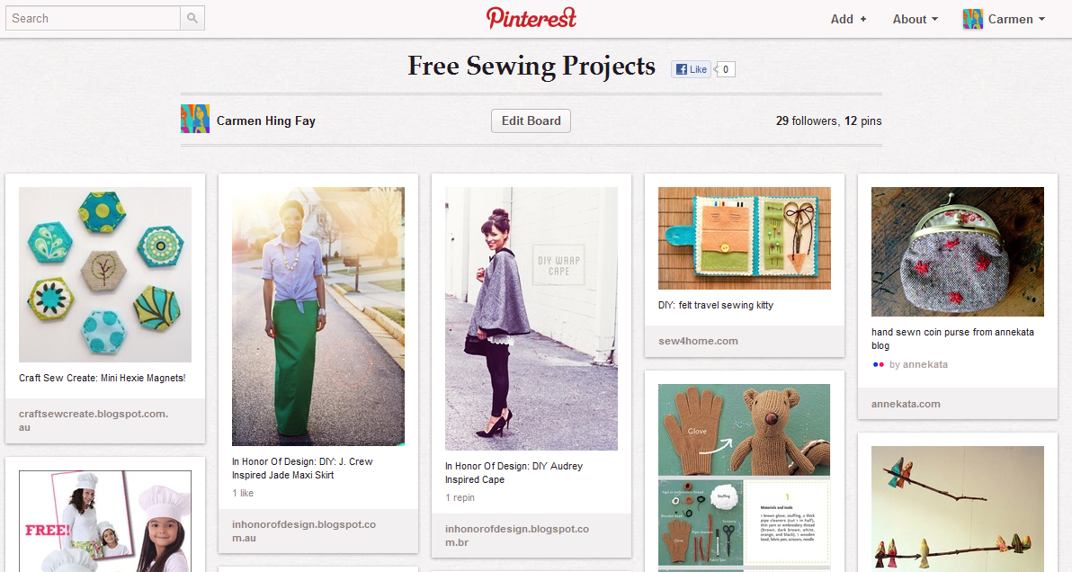 When you pin a picture, Pinterest automatically stores a link to the site so you can find it again easily. Great for all the stuff I've been meaning to sew.