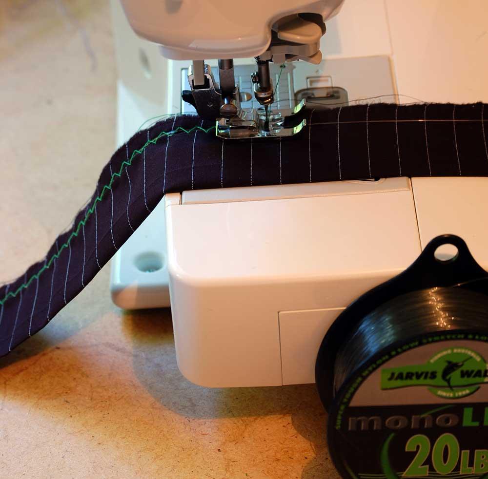 3.  Stitch fabric ruffle