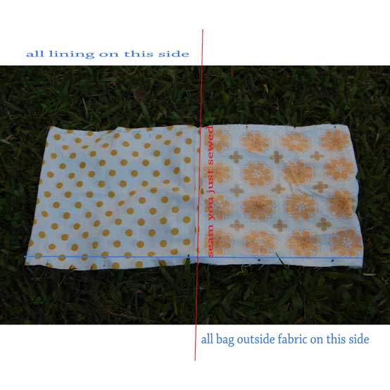 8.  Open out bag & stitch 1 side