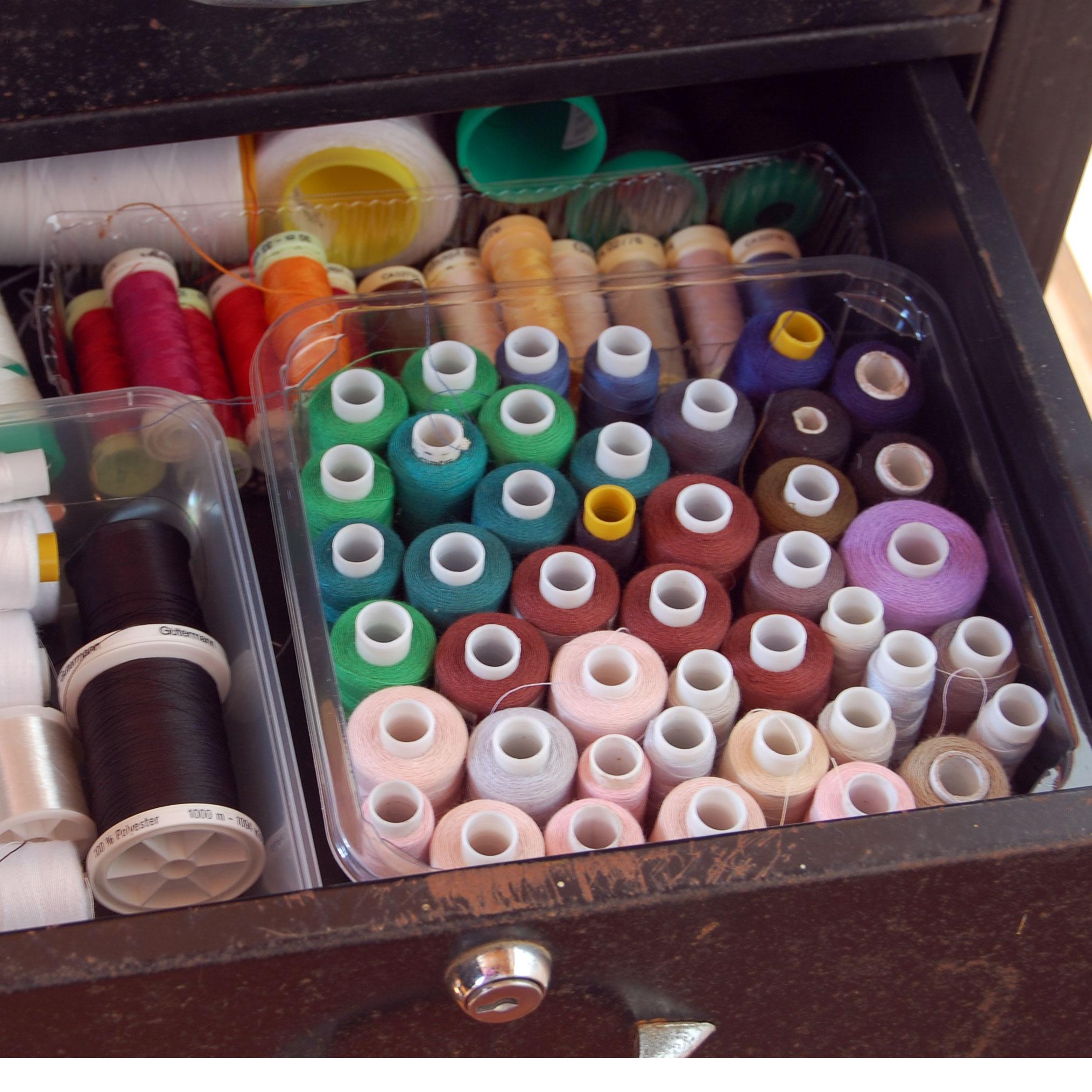 My thread now lives in regimented order inside an old desk drawer.