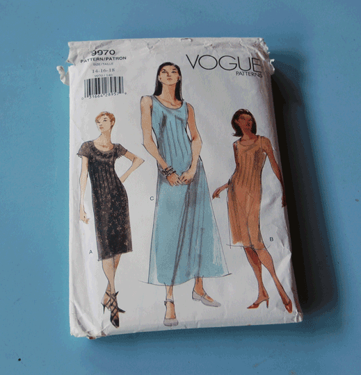 Instead of paying $25 for a Vogue pattern, thrift shops have them for 20 cents to $2.