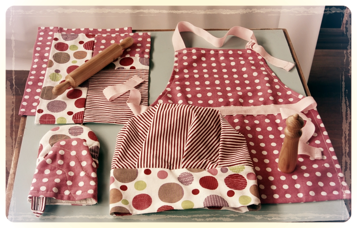 Handmade apron, chefs hat, oven mitt, patchwork tea towels and my favourites- wood-turned rolling pin and pepper grinder!