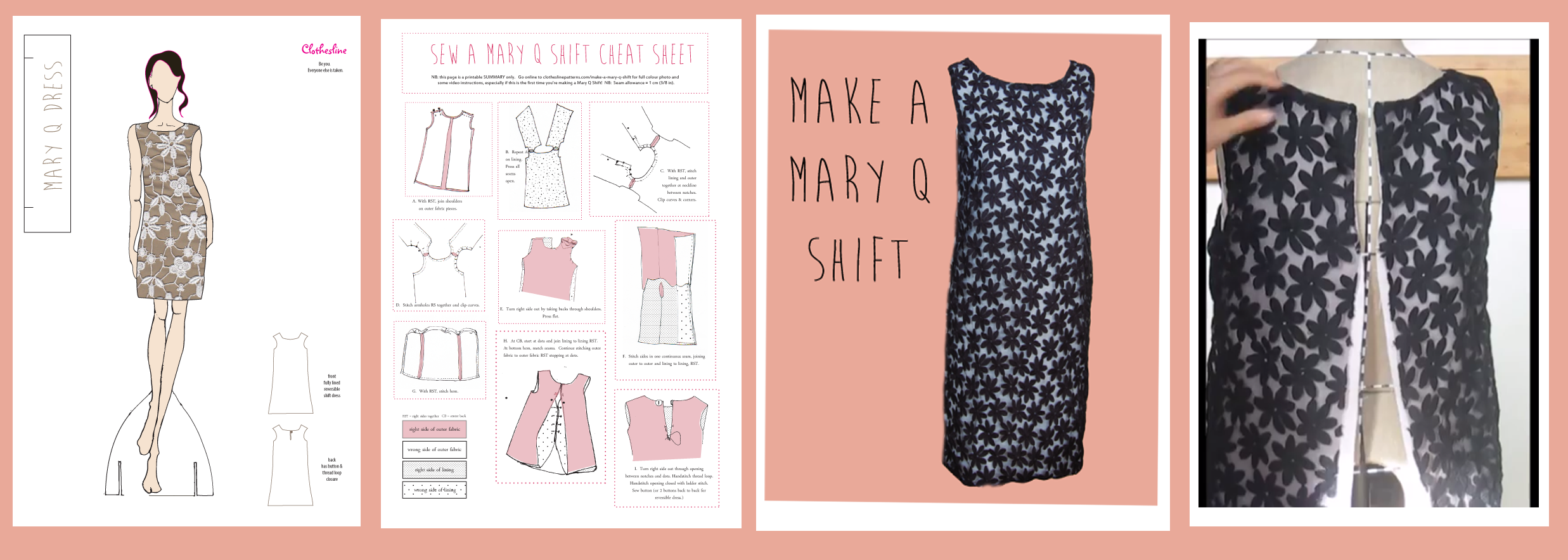 L to R:  Mary Q Pattern Cover, Mary Q Cheat Sheet, Online Instructions, Online Videos.