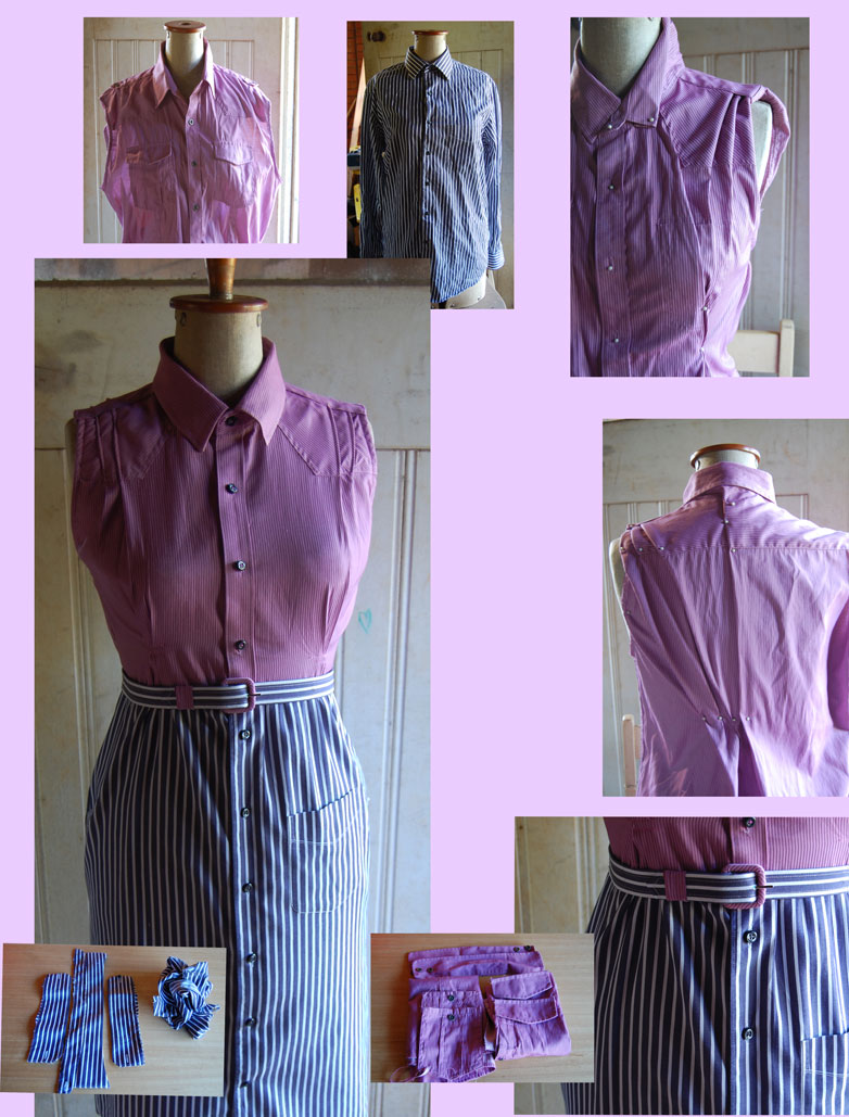 Clockwise from top left:  Pink mens dress shirt with sleeves removed.  The original blue mens shirt.  Pinning out excess on front bodice.  Pinning geometric tucks in back.  Belt and added side pockets with original pocket on blue shirt retained. Scraps of pink shirt.  Remains of blue shirt.  Main pic:  One sturdy, hard-wearing, long-lasting Utility Shirt Dress!