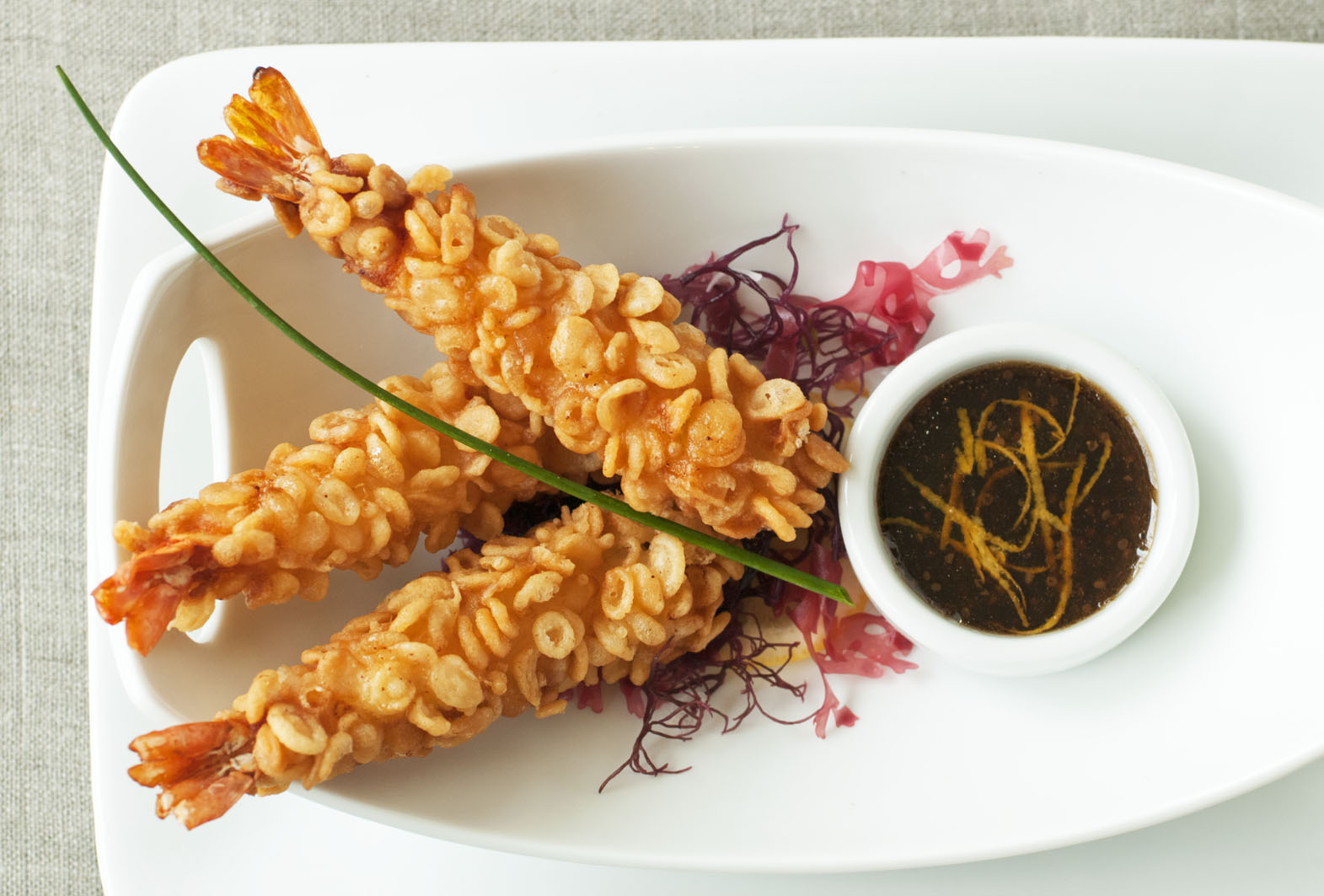 Shrimp Tempura. Ponzo Citrus Dress