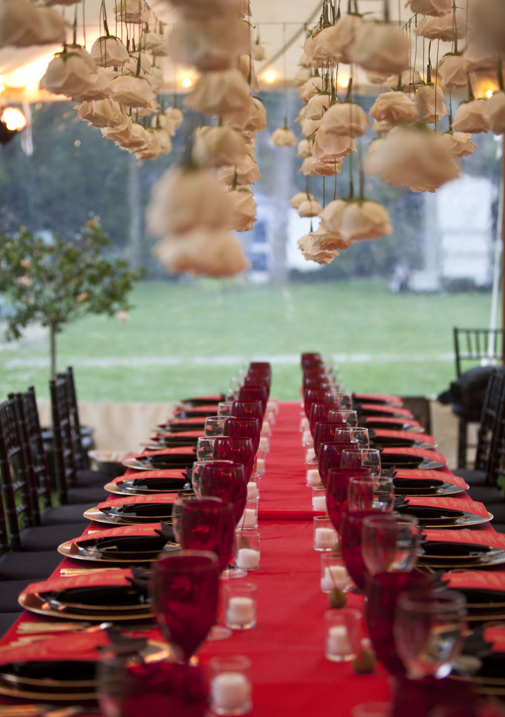 Hanging roses for a Hamptons wedding