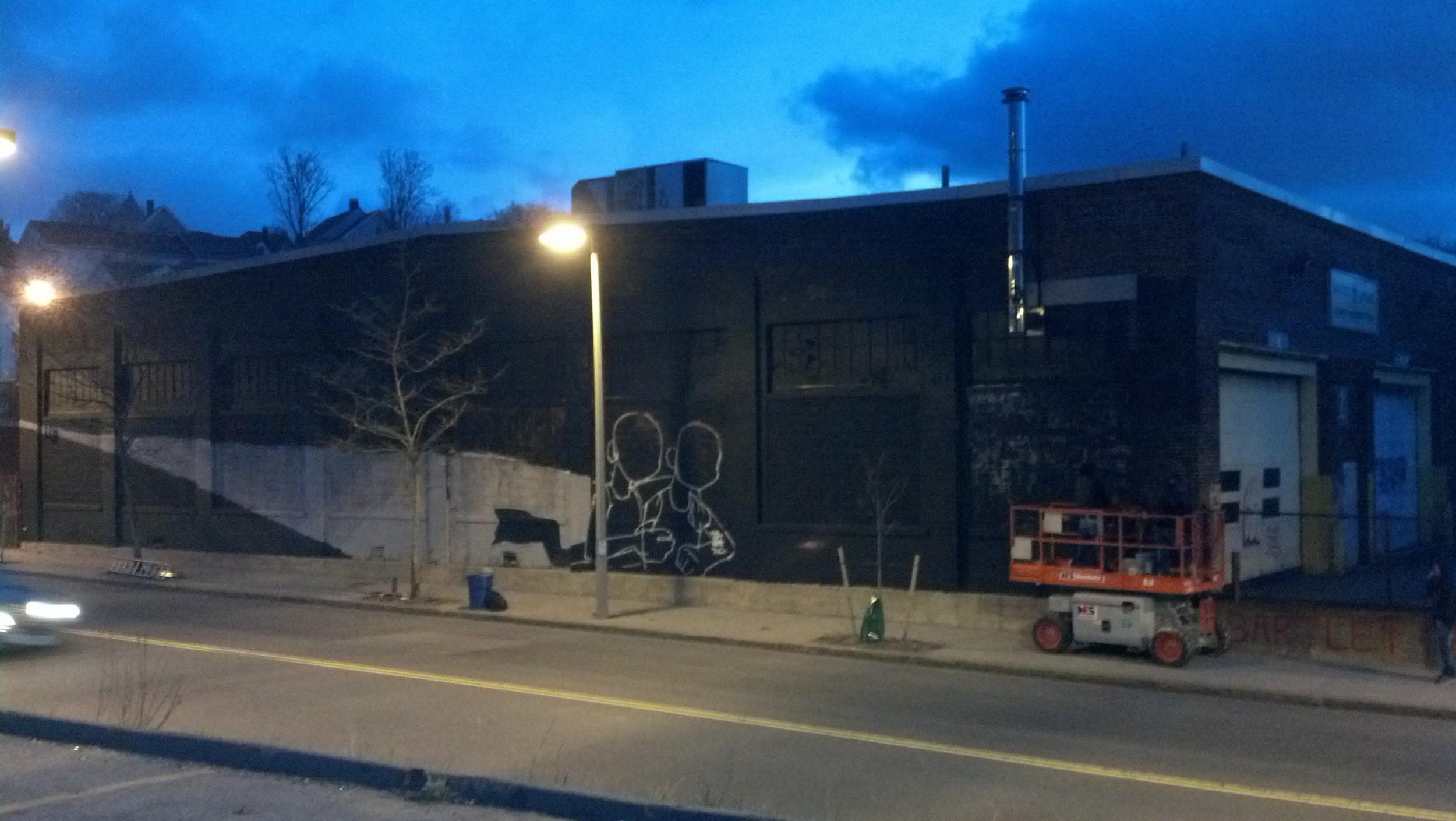 The Wall of Hope takes shape on Washington Street.