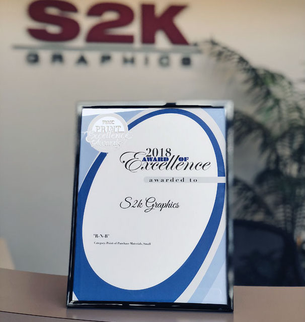 'Award of Excellence' for Category: Point of Purchase Materials     2018 Print Excellence Awards by Printing Industries Association of Southern California (PIASC)