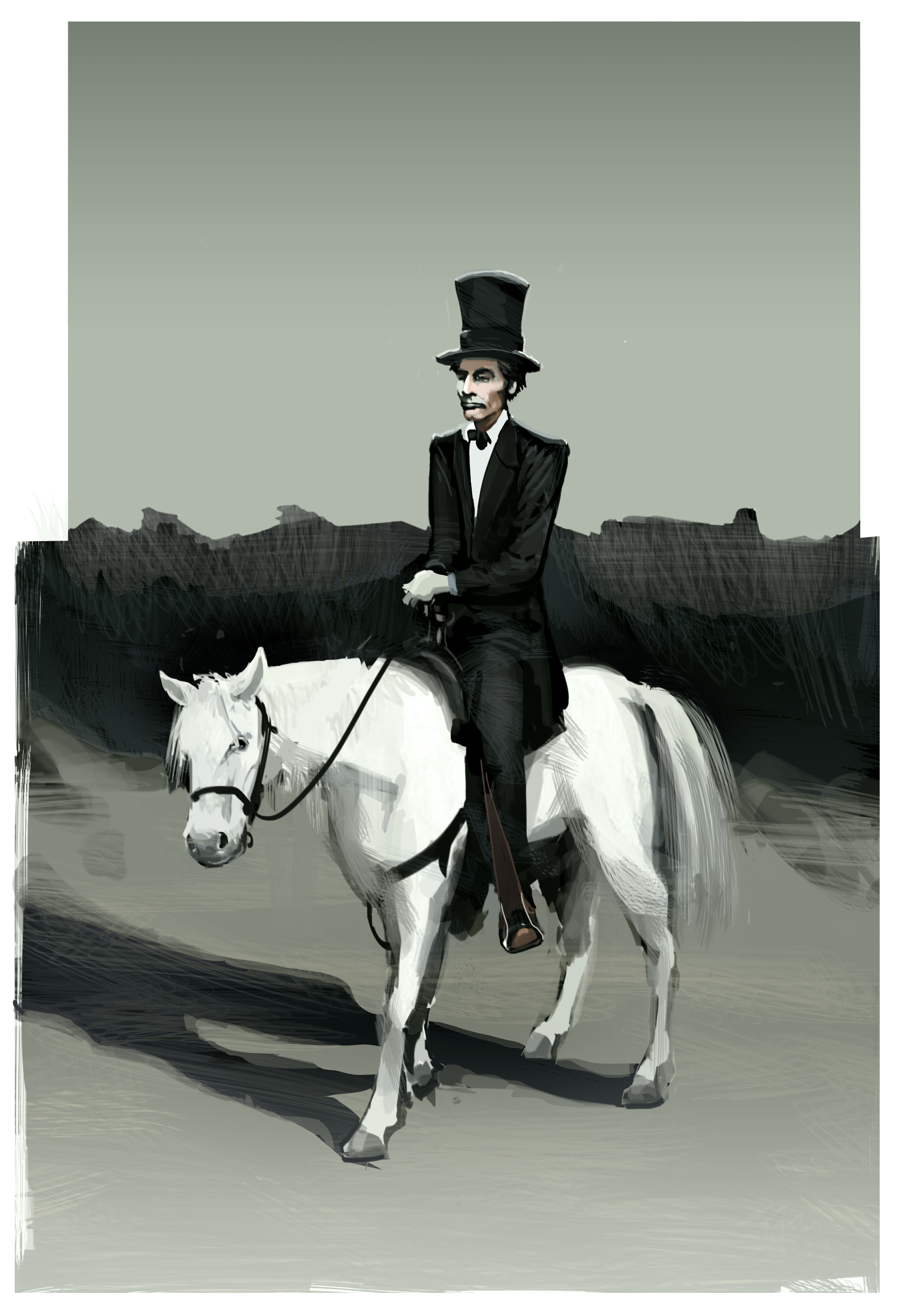 Abe on his white horse