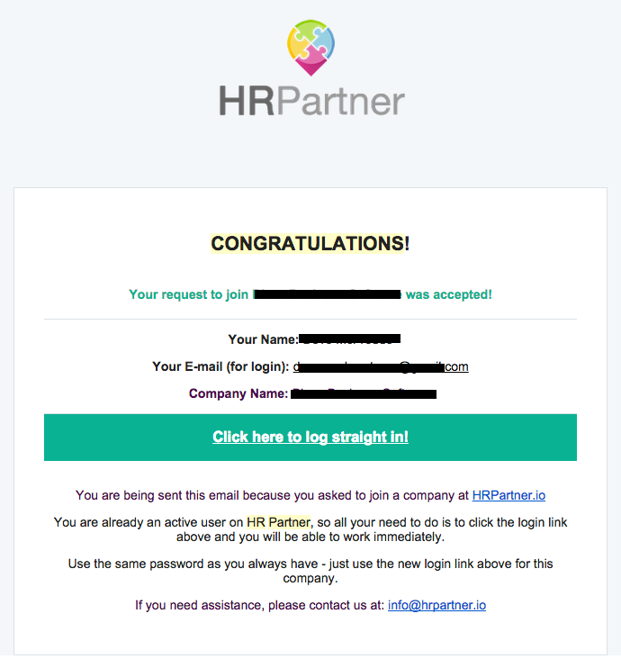 User already has an account with HR Partner and was approved to join a company.