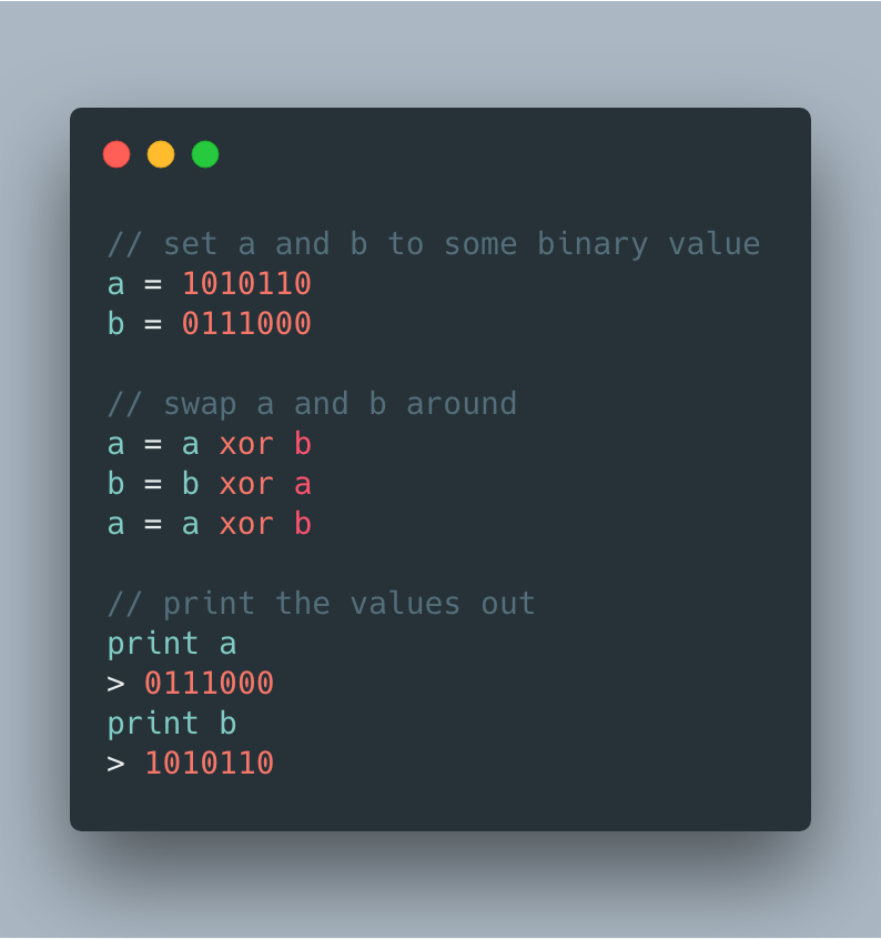 Using XOR to swap values in memory.