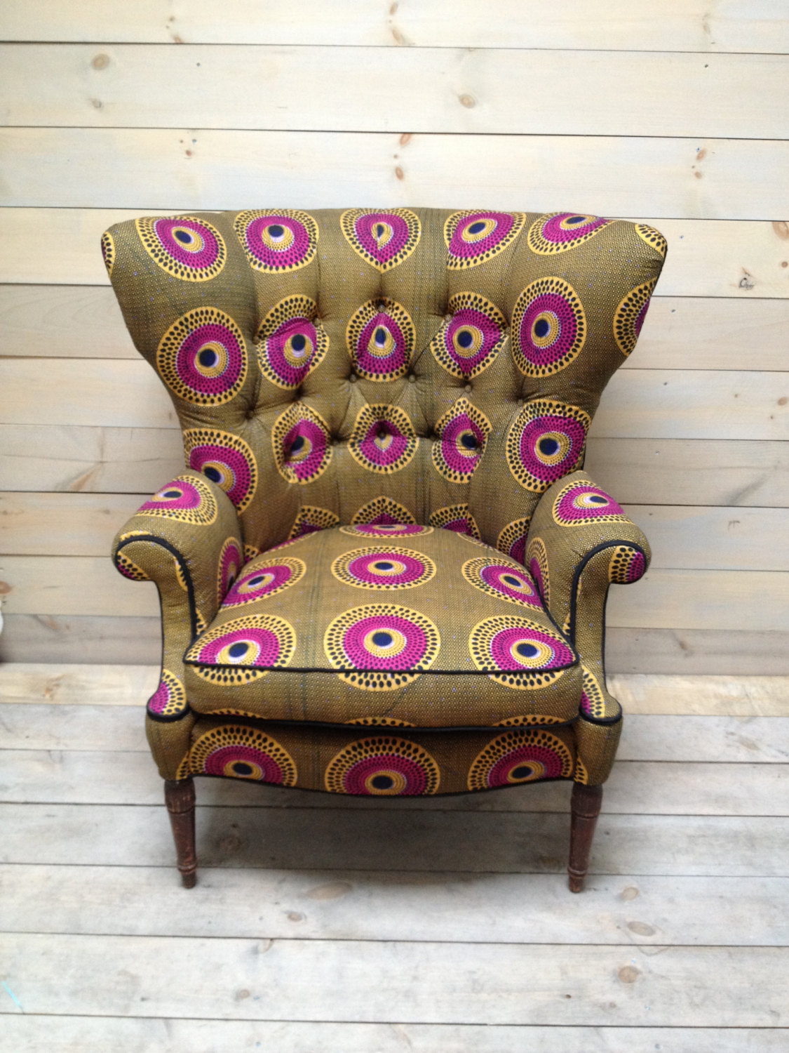 My Favourite! Fan Back chair in  Dutch African wax cloth . No I Lied I love them all.