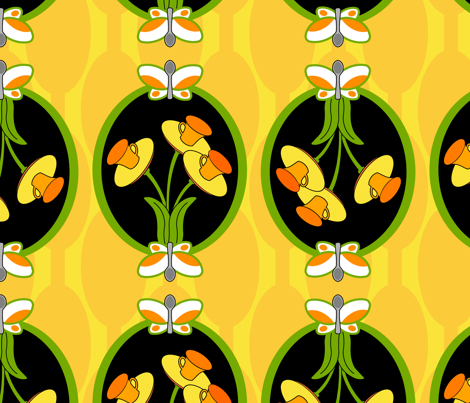 Funny floral daffodil tea cups spoonflower
