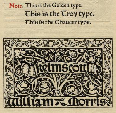 Golden Typeface William Morris 1897