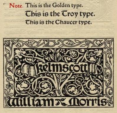 Golden Typeface William Morris 1897