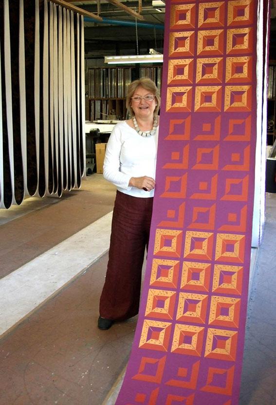 Karen Beauchamp on the print floor.