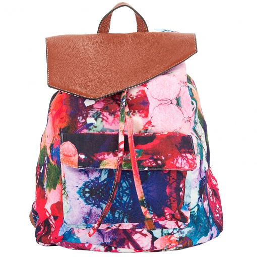 Front Row Society remist tie dye-rucksack. Love the asymmetric leather flap!