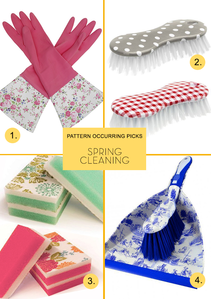 1. Floral Cleaning Gloves  Lark   2. Retro Kitchen Scrub Brushes  Peter's of Kensington   3. Patterned Sponges  Waverly   4. Toile Dustpan & Brush  S  uds Domestic