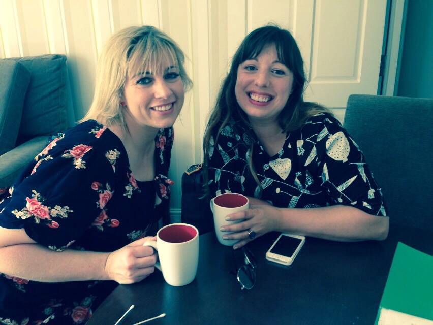 My muse Hannah Whitcombe (ceramic dealer and archivist) and me - Anne Marie Jackson aka Pattern Occurring