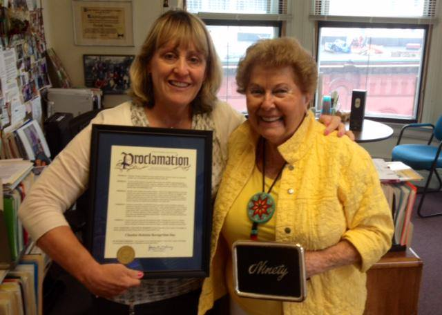 Deputy County Executive Ann Rooney presents a proclamation from Joanie Mahoney of Chuckie Holstein Recognition Day.Happy 90th birthday Chuckie!