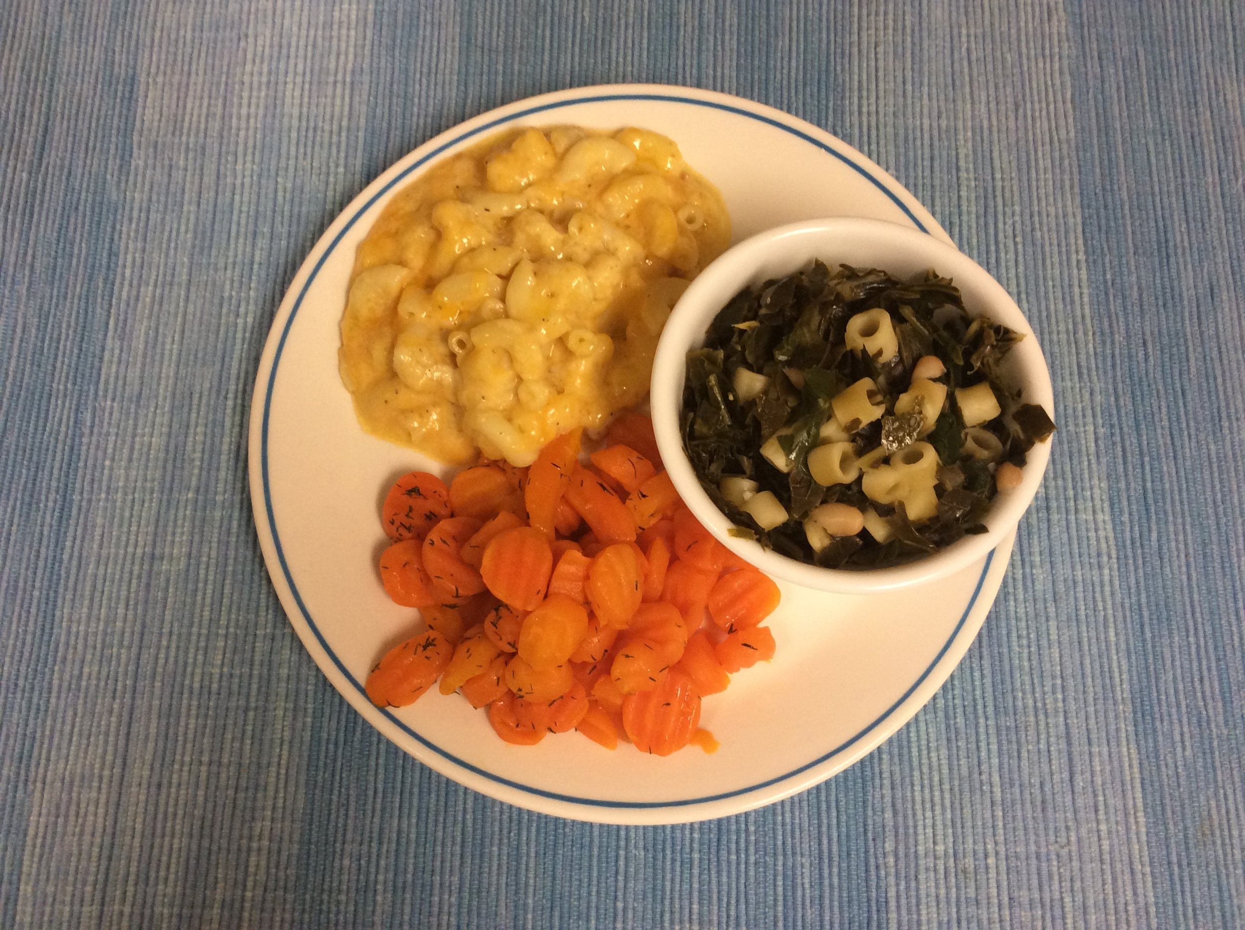 Beans and Greens Soup with Macaroni and Cheese and Buttery Dilled Carrots