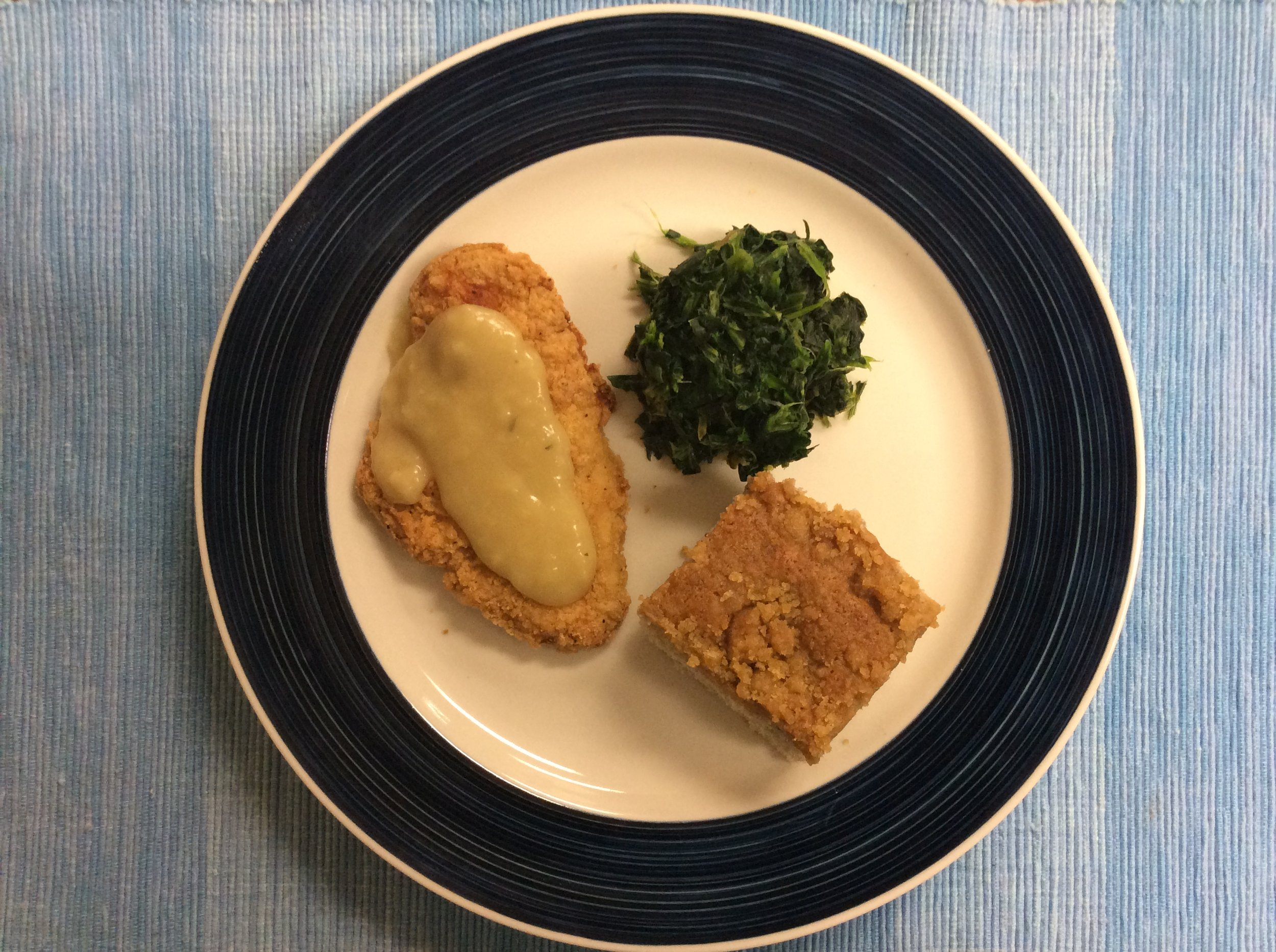 Chicken with Country Gravy and Braised Spinach with Orange and Blue Berry Crumble Cake