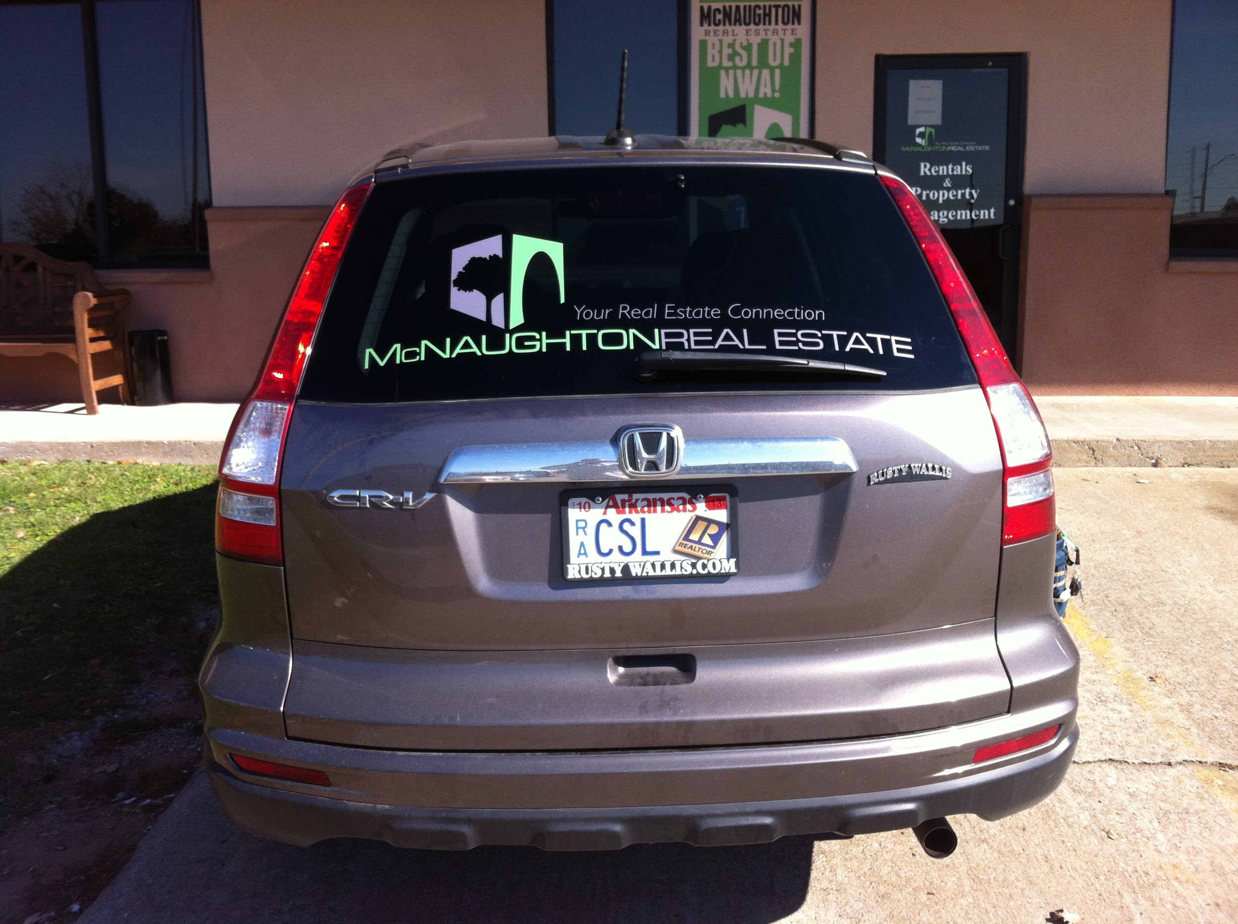 McNaughton Real Estate Rear Glass Cut Vinyl Letters