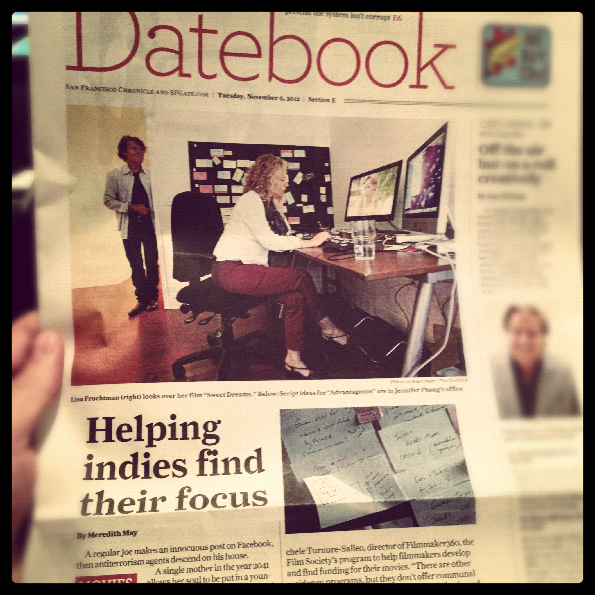 Front page of Datebook in SF Chronicle, 11/6/12