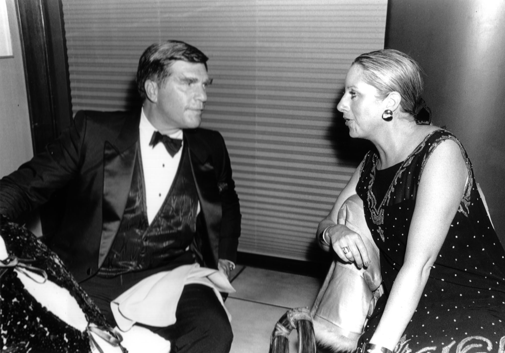 Board of Directors Chairman George Gund and Margot deWildt at the 28th San Francisco International Film Festival, 1985.  Photo by Bruce Forrester.