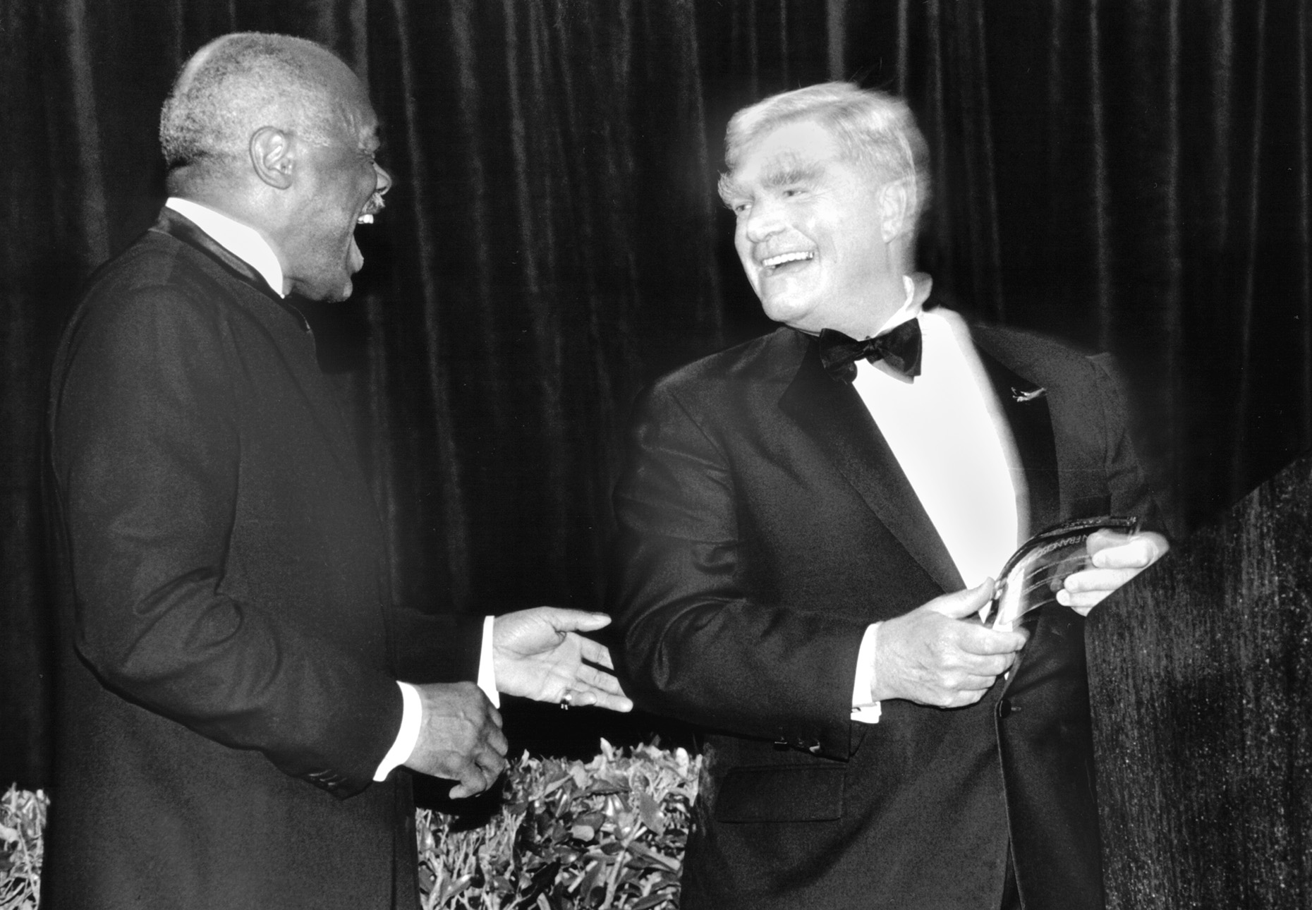 Mayor Willie L. Brown Jr. and George Gund III at the 44th San Francisco International Film Festival, 2001.  Photo by Pamela Gentile.