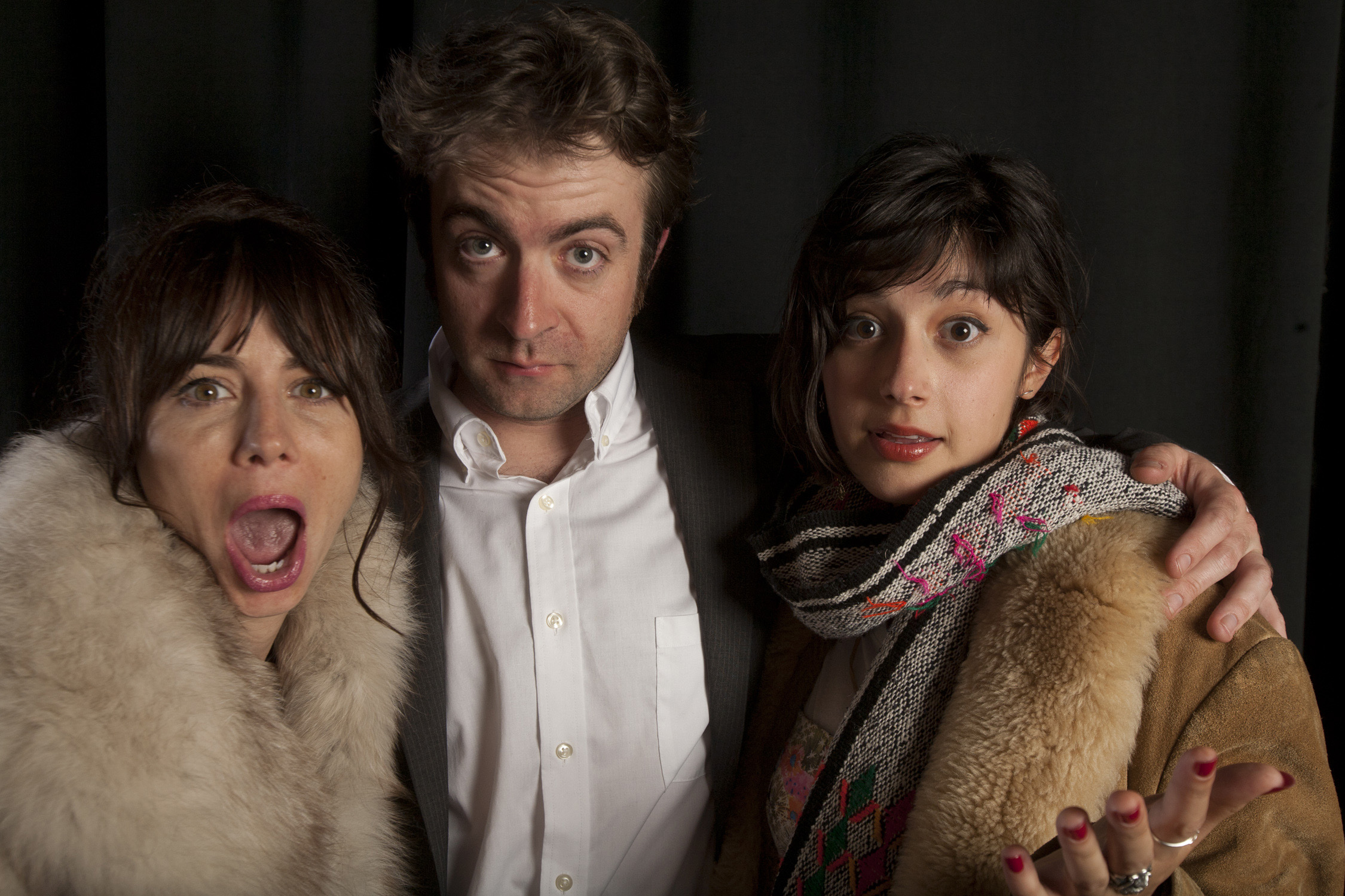 Natasha Leggero,  Derek Waters and Stephanie Hunt at INSIDE THE DRUNKEN MIND OF DEREK  WATERS, the Live & Onstage event at the 56th San Francisco  International Film Festival. PHOTO: Tommy Lau