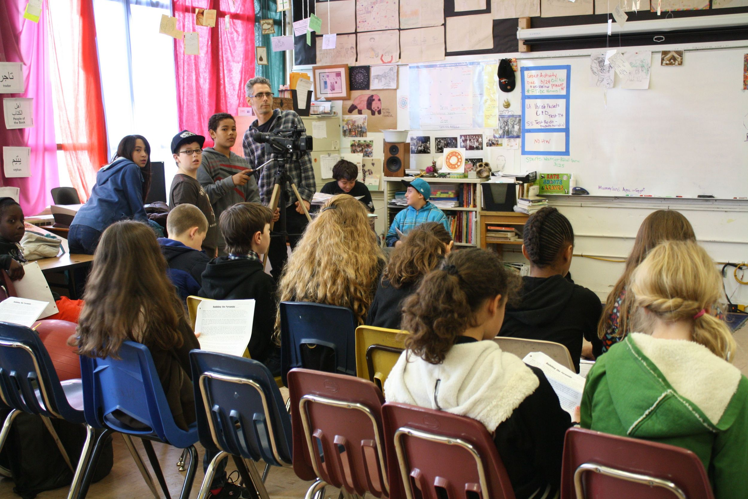 Filmmaker Danny Plotnick works with 7th graders at Creative Arts Charter School in the FITC program.