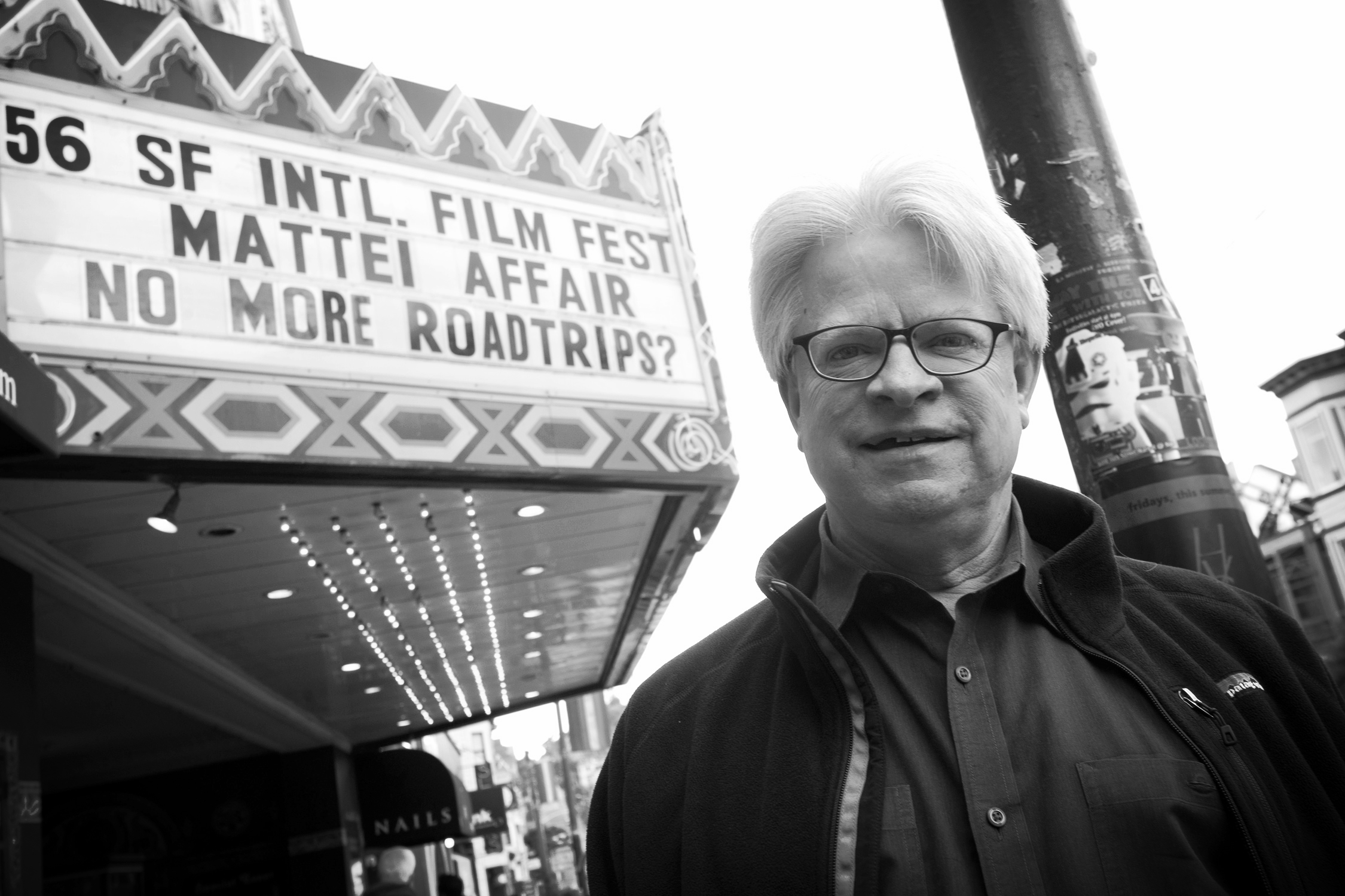 Rick Prelinger outside the Live & Onstage show of NO MORE ROADTRIPS? at the 56th SF International Film Festival . Photo: Tommy Lau