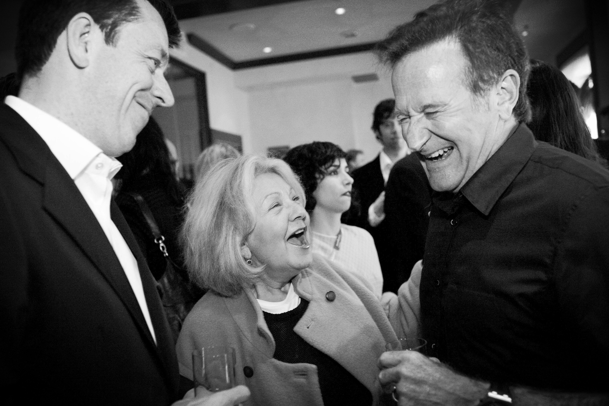Peter J. Owens Award recipient Robin Williams with Peter Morgan and Jeanette Etheredge at the 50th SFIFF