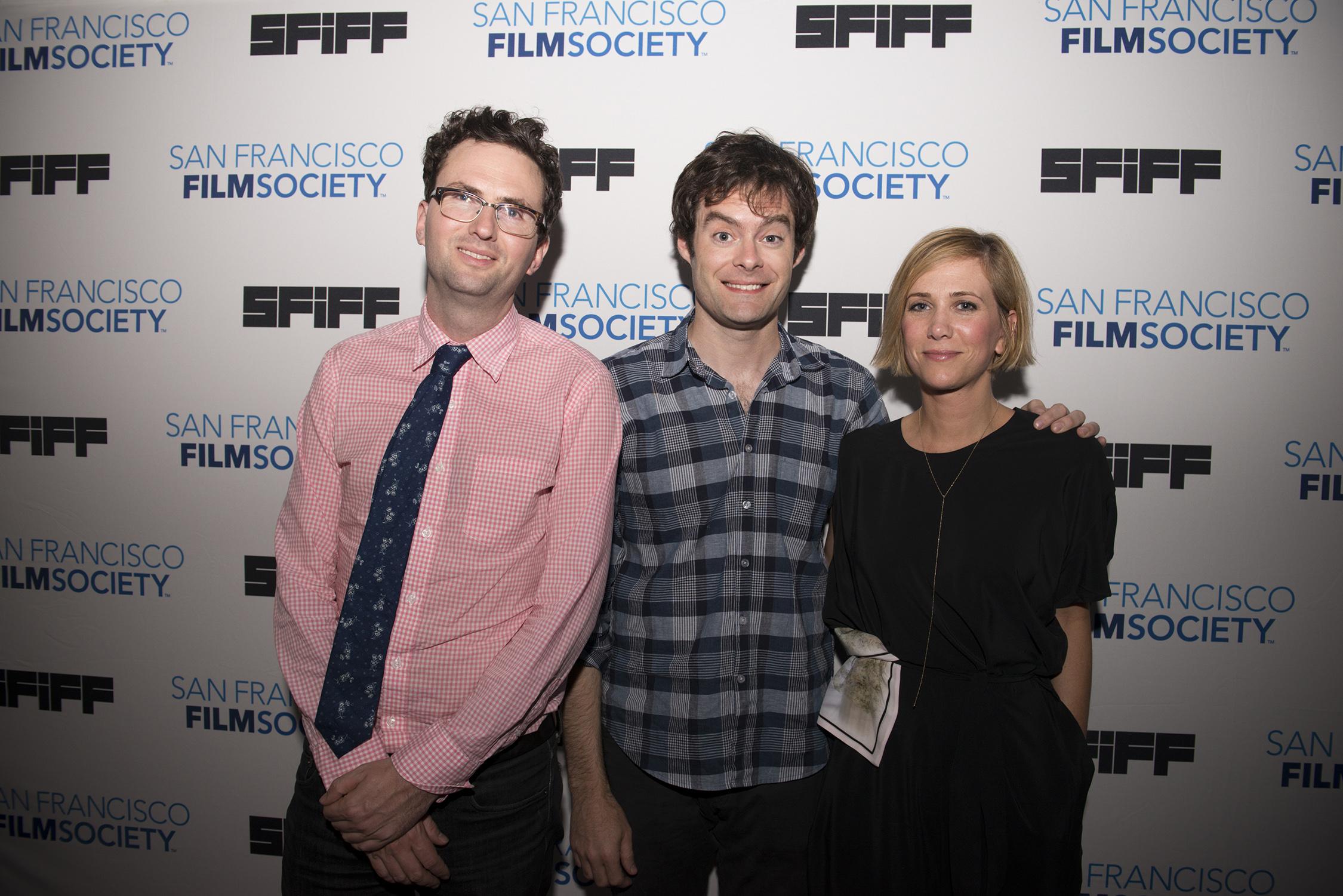 Director Craig Johnson with stars Bill Hader and Kristin Wiig