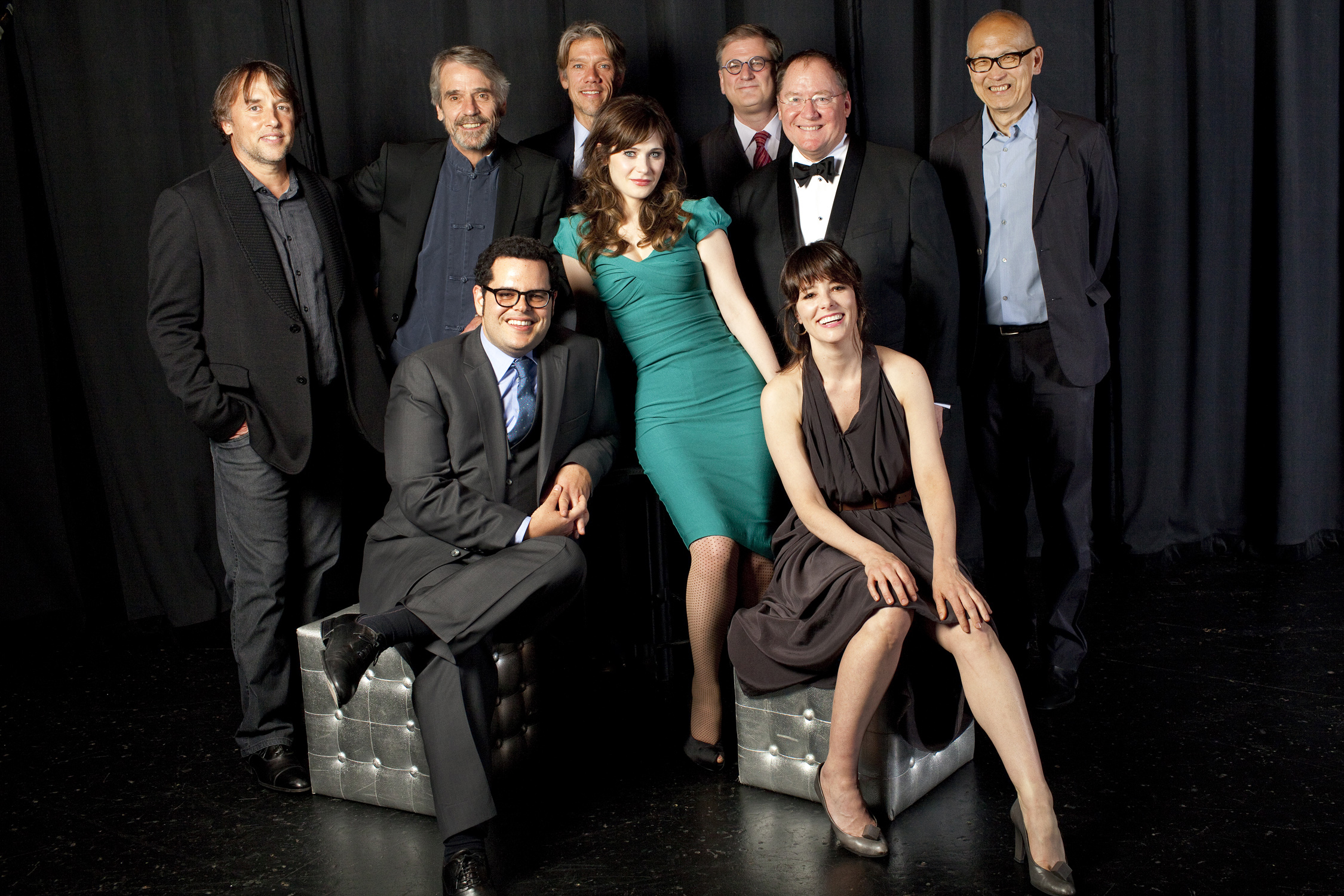 Richard Linklater, Jeremy Irons, Josh Gad, Stephen Gaghan, Zooey Deschanel, Noah Cowan, John Lasseter, Parker Posey and Wayne Wang, the honorees and presenters at Film Society Awards Night at the 57th San Francisco International Film Festival, May 1.  Photo: Pamela Gentile
