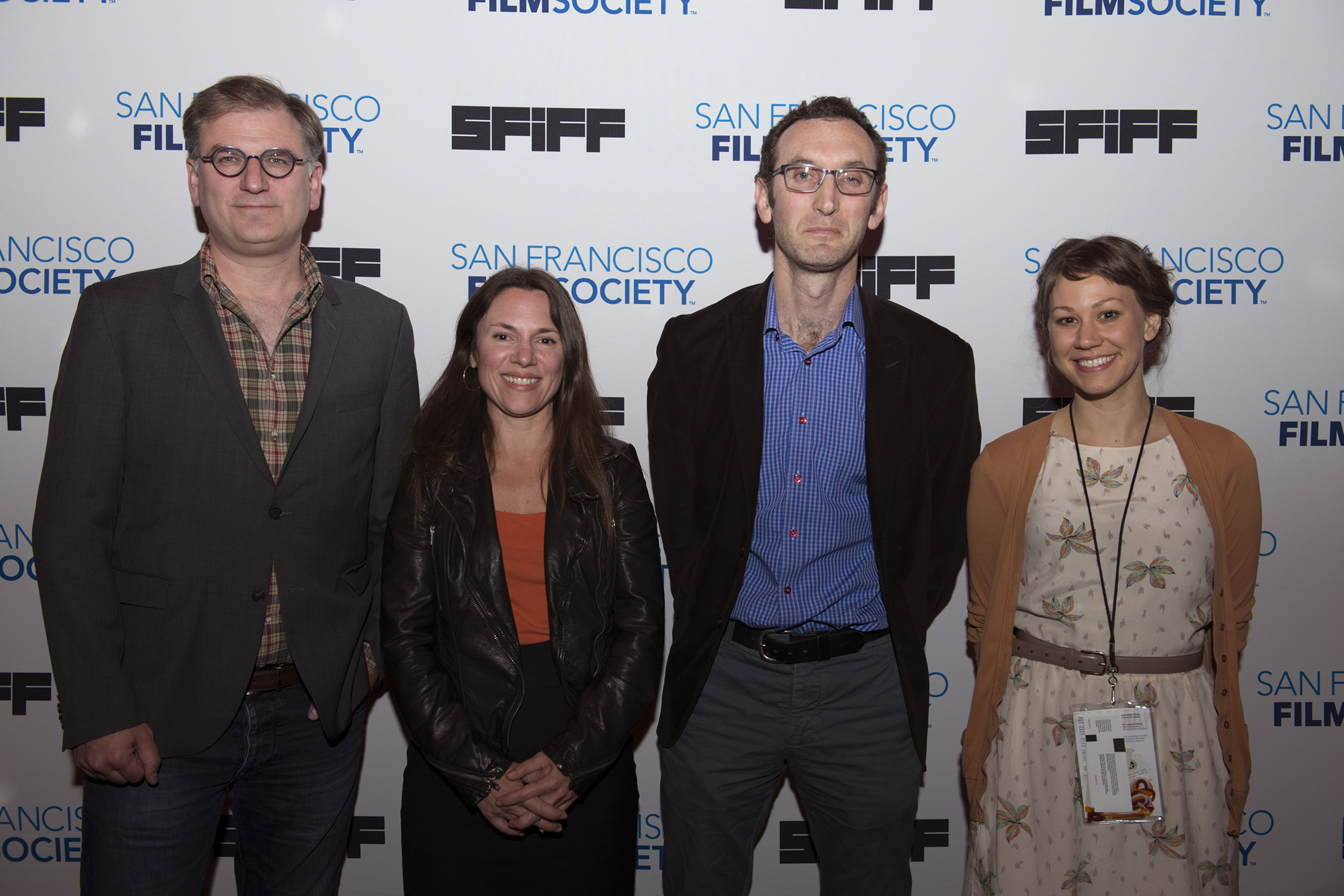 San Francisco Film Society Executive Director Noah Cowan, producer Amanda McBaine, Jesse Moss, director of THE OVERNIGHTERS, the winner of the Golden Gate Award for a Documentary Feature and Sara Dosa, director of THE LAST SEASON, the winner of the Golden Gate Award for a Bay Area Documentary at the Golden Gate Awards at the 57th San Francisco International Film Festival  Photo: Pat Mazzera
