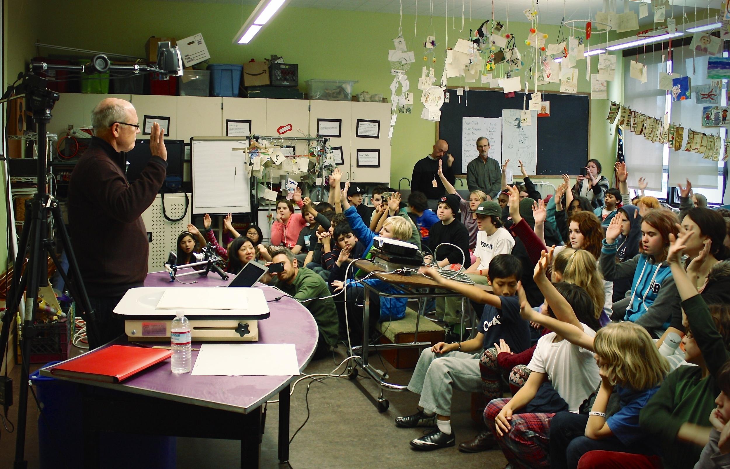 Animator Glen Keane quizzing localstudents. Photo by Julie Stallone.